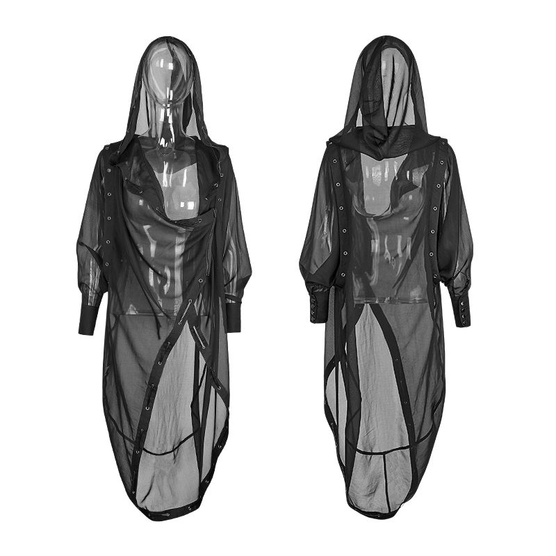 Gothic Asymmetric Summer Sunscreen Trench Chiffon Long Coat Suit Halloween Prevent Bask Women Black Punk Rock Softer Outterwears bask putorana hard