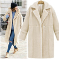 2016 New Fashion Fur Coat Warm Lambswool Long Overcoat with Pocket  Turn-down collar Hot Sale, S166