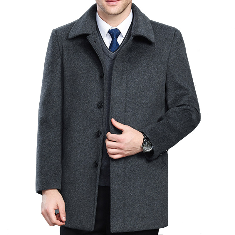 High quality cashmere coat men new style winter wool overcoat male turn down collar single breasted woolen outerwear 2 styles