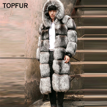 TOPFUR 2019 New Real Fur Thick Warm Coat For Men Luxury Style Winter Natural Silver Fox Jacket With Hood