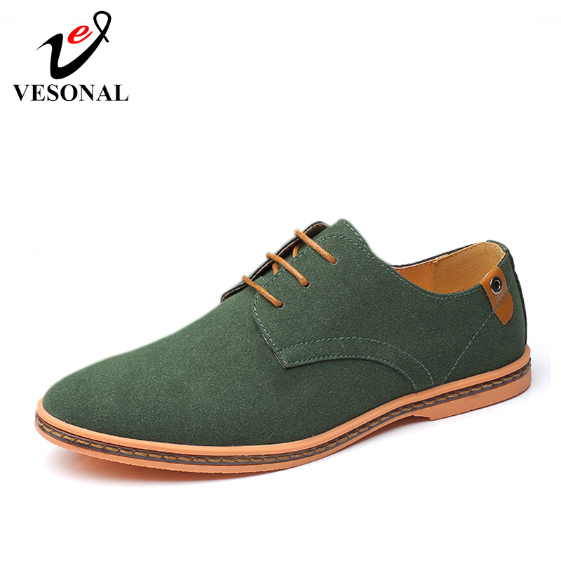 VESONAL Brand 2019 Spring Big Size 38-46 Suede Leather Men Shoes Oxford Casual Classic Sneakers For Male Comfortable Footwear(China)