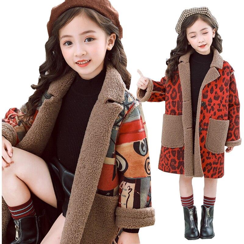 Girls Winter Coats for Kids Outerwear Fleece Leopard Print Jacket Teenage for Girls Jackets Warm Thick Velvet Children Clothing стоимость