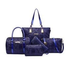 Worthfind 5 unids/set mujeres bolso de cocodrilo patrón compuesto bolsas de mensajero bagwomen hombro bolso monedero de la cartera bolsos