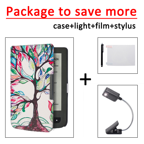 все цены на for Pocketbook 625 614 615 624 626 626 plus PU protective leather cover case +LED book light+ protective film+stylus онлайн