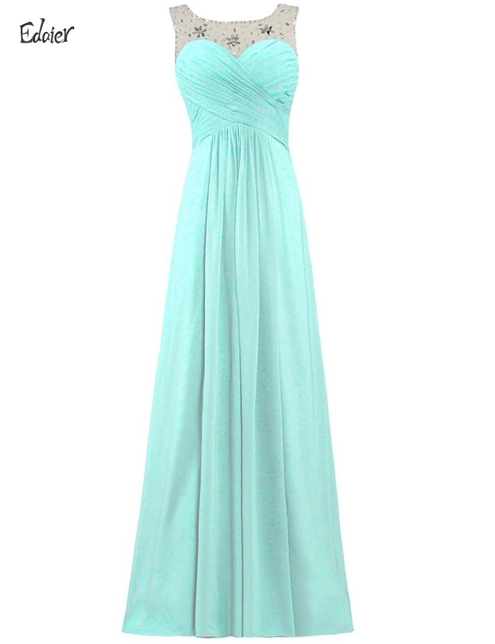 Long chiffon crystals bridesmaid dress edaier 2017 for Burgundy wedding dresses plus size