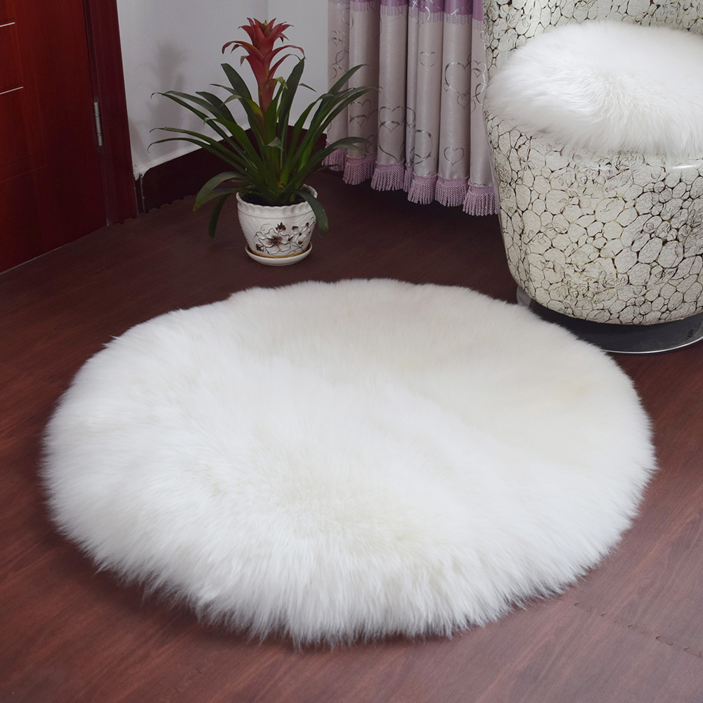 Cilected Modern White Round Fur Carpet For Living Room Children's Room Mats Wool Fabric Crawling Non-slip Absorbent Kilim Rugs