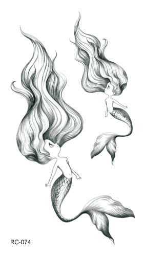 RC-074 Fashion Temporary Tattoo Stickers Beauty Body Art Cute Mermaid Colorful Fake Flash Taty Tattoo Water Transfer Tatuaje