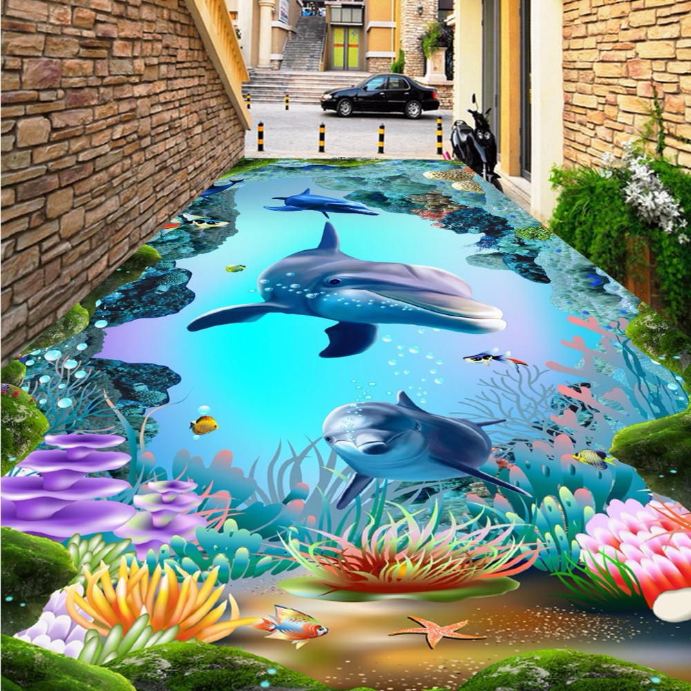 Free Shipping Underwater World Cave Tropical Fish 3D floor painting living room office wear floor wallpaper mural корм tetra tetramin xl flakes complete food for larger tropical fish крупные хлопья для больших тропических рыб 10л 769946