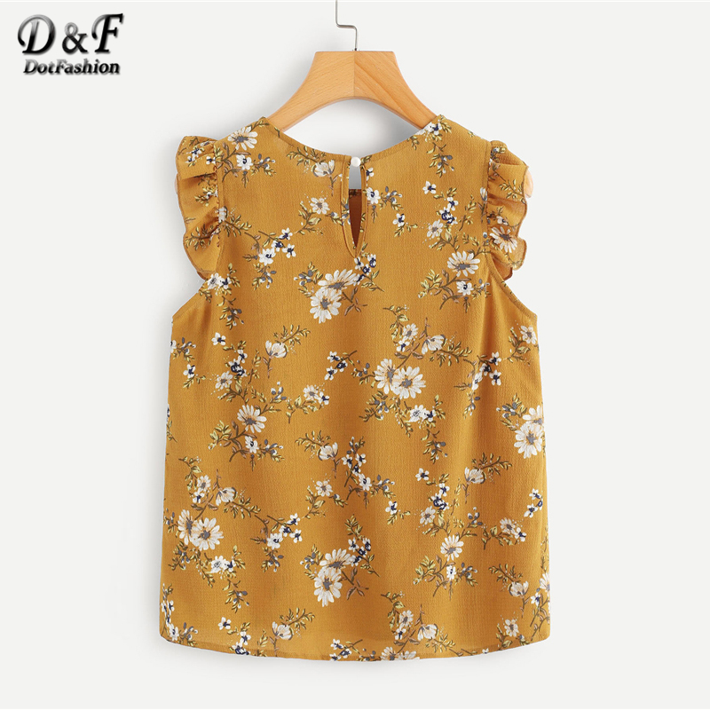 Dotfashion Frilled Armhole Button Closure Back Shell Top Women Summer Round Neck Sleeveless Ruffle Tops Female Ginger Blouse