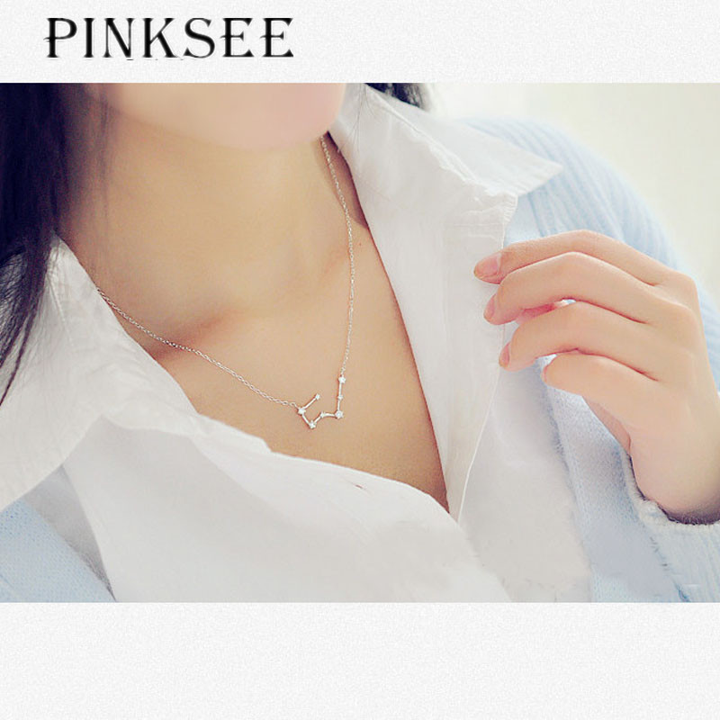 PINKSEE 12 Constellation Rhinestone Pendant Necklace Personality Choker Necklace Jewerly Accessories
