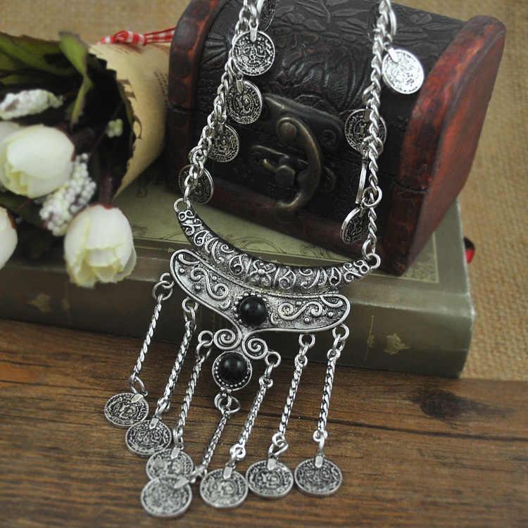 כסף עתיק תכשיטי אופנה חדשה בוהמי Boho ארוכה תליון גדילים גילוף מטבעות לתכשיטי נשים