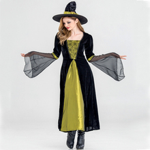 Women New Halloween Witch cosplay Costume Adult role play Green Black cos with hat JQ-1087