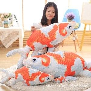 Simulação 3D de impressão tridimensional carpa peixinho vermelho brinquedos de pelúcia criativo travesseiro para dormir lavável brinquedo de pelúcia animais