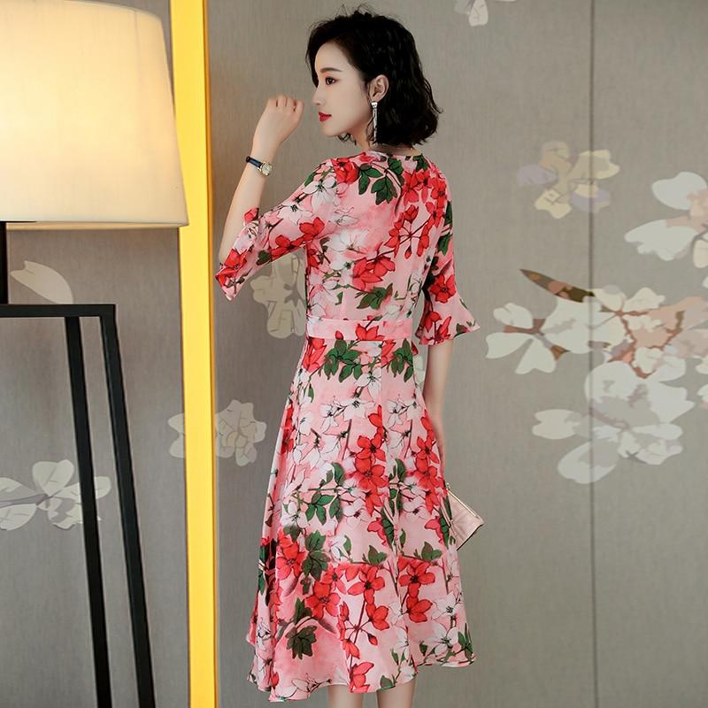 100 Wf077 V Casual rose cou Haute Mince 2018 Robe Mode Dames De Partie Élégantes Imprimé Noir Qualité Soie D'été rHzaqr