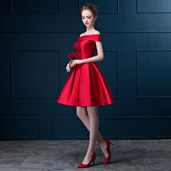 a9df92e18b54 In Stock Cheap Green And Red Color Boat Neck Short Prom Dress Satin Off The  Shoulder A Line Party Dress Limit Discount DHMN013-in Prom Dresses from  Weddings ...