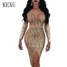 KEXU Fashion Party Club Transparent Glitter Sequin Bodycon Bandage Dress Sexy V Neck Hollow Out High Slit Slim Summer Dresses slit front transparent glitter dress