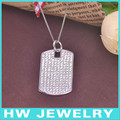 Silver 925 dog tag with micro pave setting