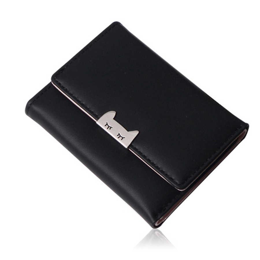 Женский мини-кошелек с мультяшным котом, студенческий мини-кошелек на застежке, кошелек в Корейском стиле с металлическим зажимом, держатель для кредитных карт, Шикарный кошелек