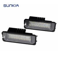 2pcs Set SUNKIA Car LED License Plate Light No Error Canbus 6000k White For Porsche Cayenne