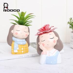 Image 1 - Roogo 植木鉢装飾多肉植物ポットウェディング誕生日プレゼントバルコニー装飾家の装飾アクセサリー