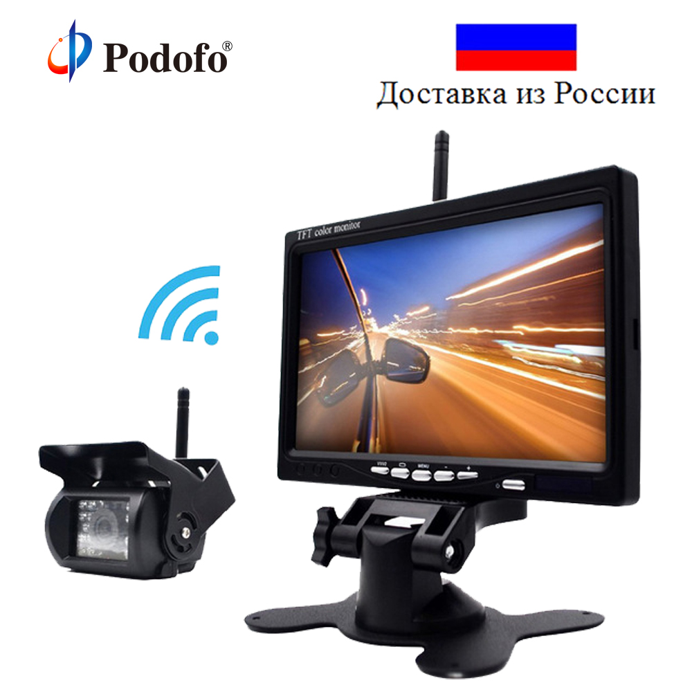 Podofo Wireless Reverse Reversing Camera & IR Night Vision 7 Car Monitor for Truck Bus Caravan RV Van Trailer Rear View Camera byncg wireless car reverse reversing dual backup rear view camera for trucks bus excavator caravan rv trailer with 7 monitor