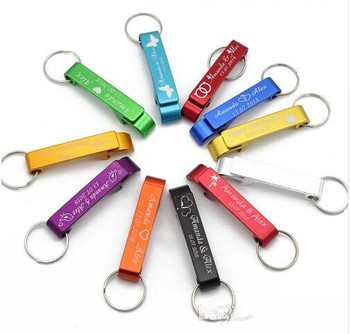 100pcs Personalized Engraved colorful Bottle Opener Key Chain key ring Wedding party  Favors Valentines Gifts