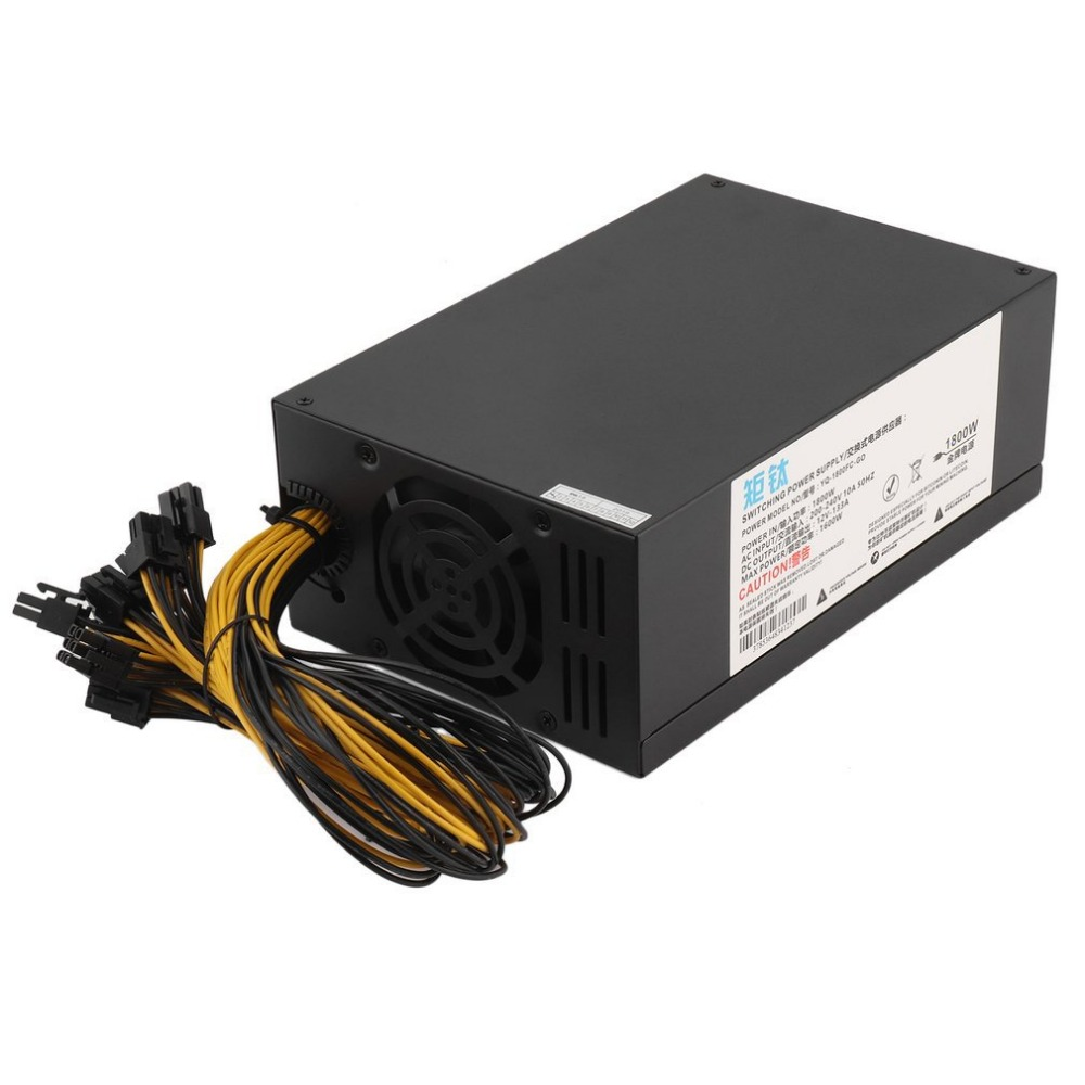 High Efficiency 1800W Server PSU Power Supply 6PIN Mining Machine Power Supply For Antminer S7 S9 A6 A7 L3 R4 dash miners riser 1800w psu ant s7 s9 a6 a7 btc eth miner machine server mining board power supply