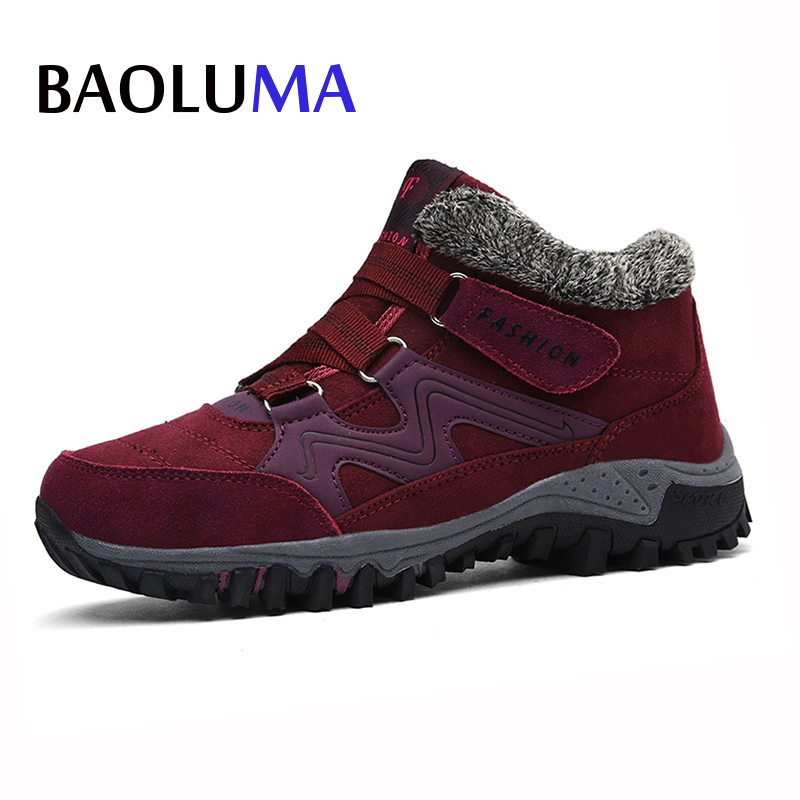 New Women Snow Boots Winter Shoes Warm Plush Krasovki Suede Stitching Ankle Boots Female Shoes Wedge Snow Boots Waterproof suede ankle snow boots