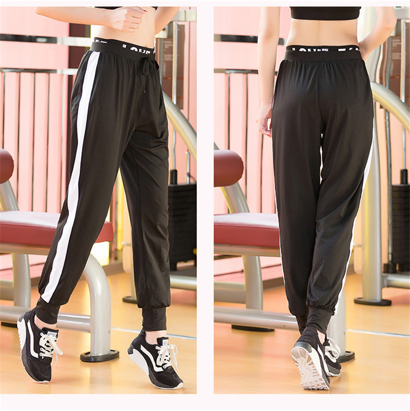 Running Trousers  Spring Tie Harun Sport Pants Female  Loose Stretch  Grenadine Splicing Sports Wear  Quick-Dry Gym Clothes 6021
