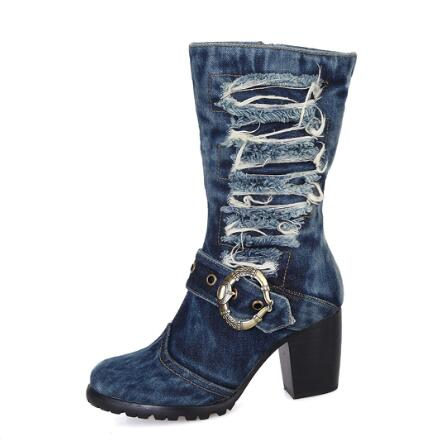 Sexy Vintage Jeans Mid-calf Boots Round Toe Metal Decoration Chunkly Heels Short Boots For Women Side Zipper Dress Shoes stylish mid waist zipper fly blue ankle length jeans for women