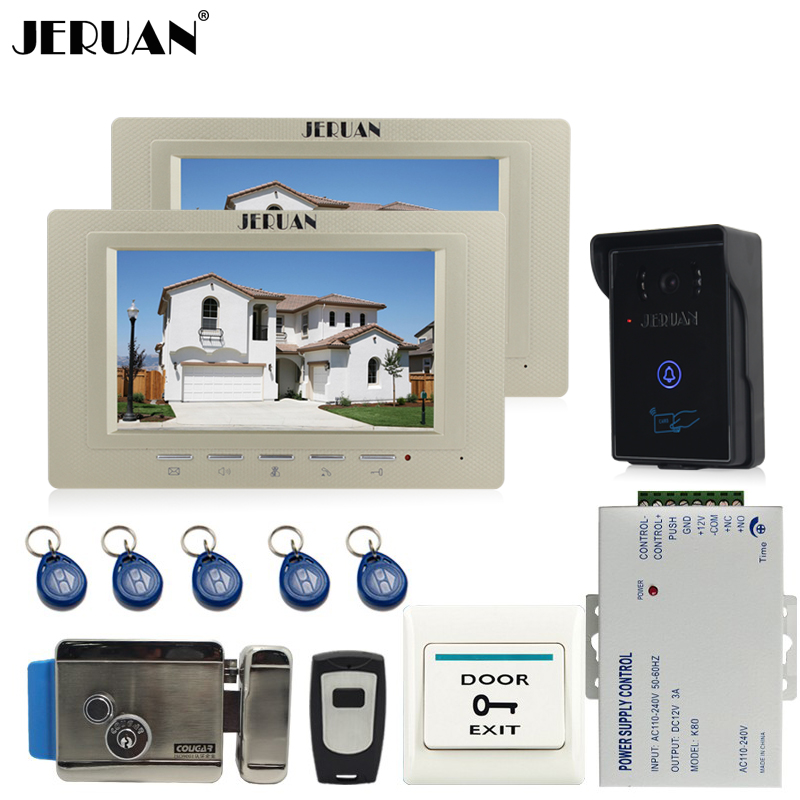 JERUAN 7 inch Video Intercom Video Door Phone System 2 monitors + 700TVL RFID Access Waterproof Touch key Camera+Electronic lock jeruan 7 inch video door phone intercom system kit rfid touch key waterproof access camera 180kg magnetic lock remote control