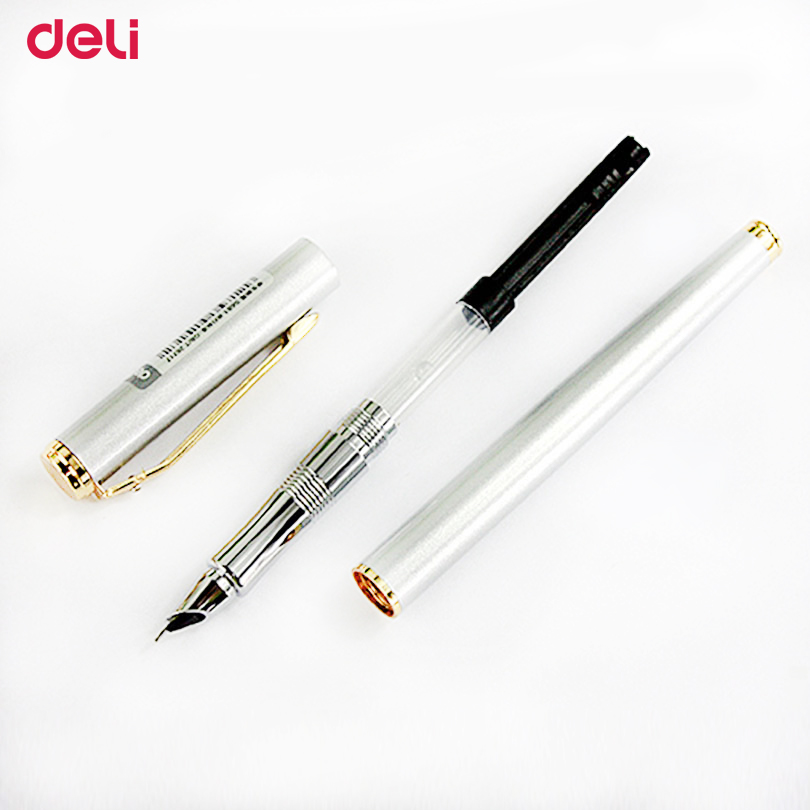 Deli 2017 metal Fountain Pen school & office supplies stationery Elegant Pens For Writing school high quality ink fountain pen