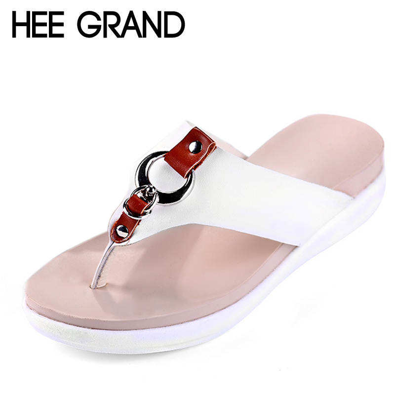 HEE GRAND Slippers Platform Summer Flats Solid Flip Flops Beach Shoes Woman Creepers Slip On Women Shoes Size 35-40 XWT1079 hee grand summer gladiator sandals 2017 new platform flip flops flowers flats casual slip on shoes flat woman size 35 41 xwz3651