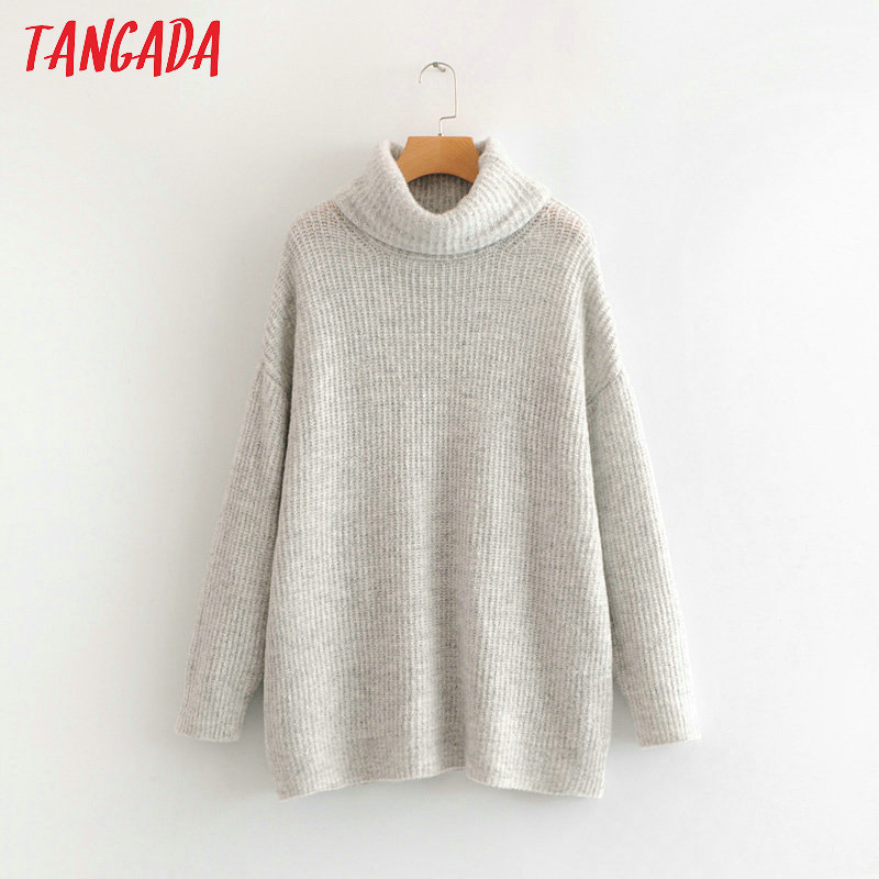 Tangada women jumpers turtleneck sweaters oversize winter fashion 19 long sweater coat batwing sleeve christmas sweate HY135 25
