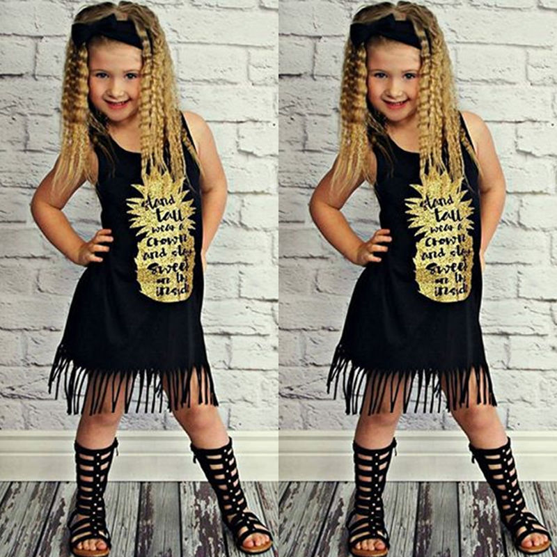 New 2017 Summer Toddler Kid Baby Girls Gold Letter Black Casual Tassel Sleeveless Dress Princess Party Pageant Holiday Dresses