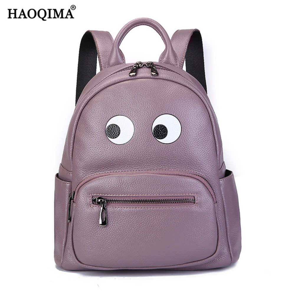 HAOQIMA 2018 Girls Genuine Leather Luxury Brand Backpacks Female New Design 2017 Real Cowhide Women Backpack Girl School Bag zency genuine leather backpacks female girls women backpack top layer cowhide school bag gray black pink purple black color
