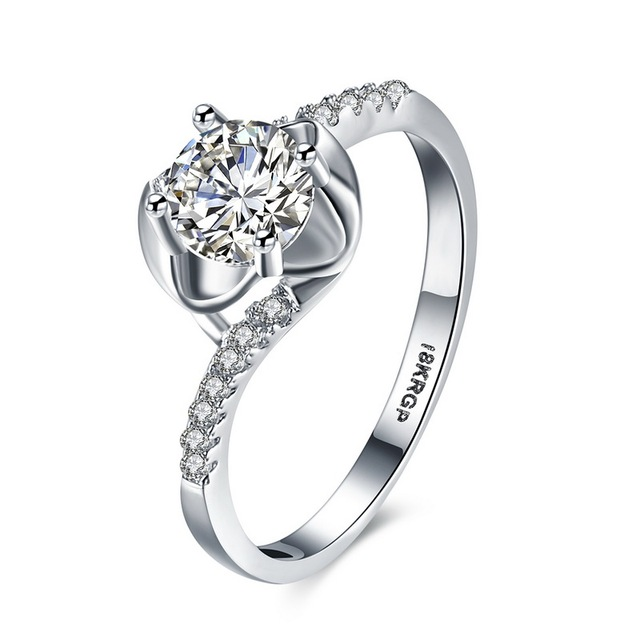 0572a3736c 2016 Luxury Fashion Women Wedding Ring Silver Color Hearts & Arrows Cut  Round Cubic Zircon Couple Rings Jewelery Top Quality