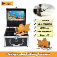 """""""Eyoyo 7"""""""" TFT ЖК-дисплей 50 м/164ft камеры CCD купольная камера 800tvl подводные камеры эхолот 24шт белых светодиодов Регулируемый ж/4500mah батареи бесплатный зонтик"""""""