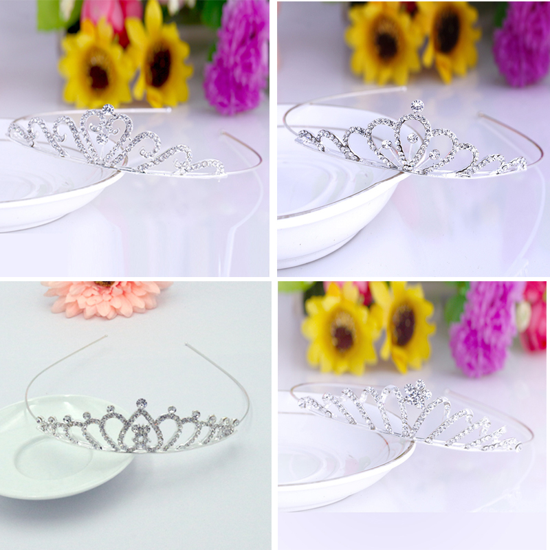 12 Designs Sparkling Rhinestone Silver Children/Girl Tiara Crowns Birthday Party Diadem Hair Ornaments Hair Jewelry Accessories