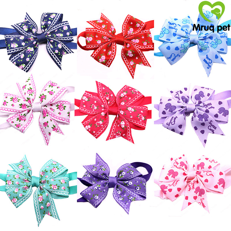 60pcs New Pet Puppy Dog Cat Bowtie Adjustable Flower Patterns Ribbon Collars Bow ties Accessory Supplies