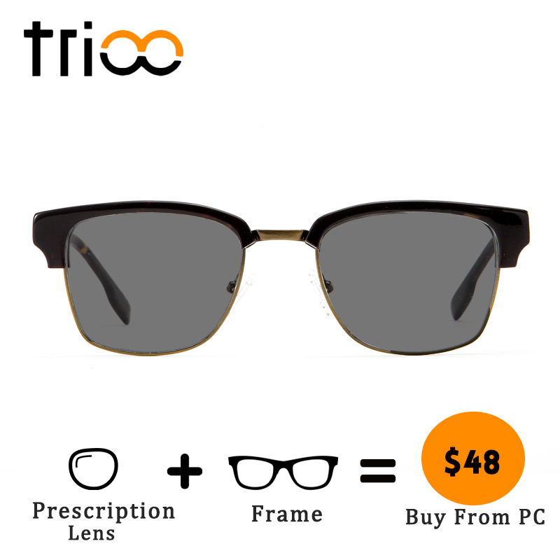 TRIOO For Nearsighted Driver Sungalsses with Diopters Prescription Sun Glasses for men Classic Designer Square Eye Glasses