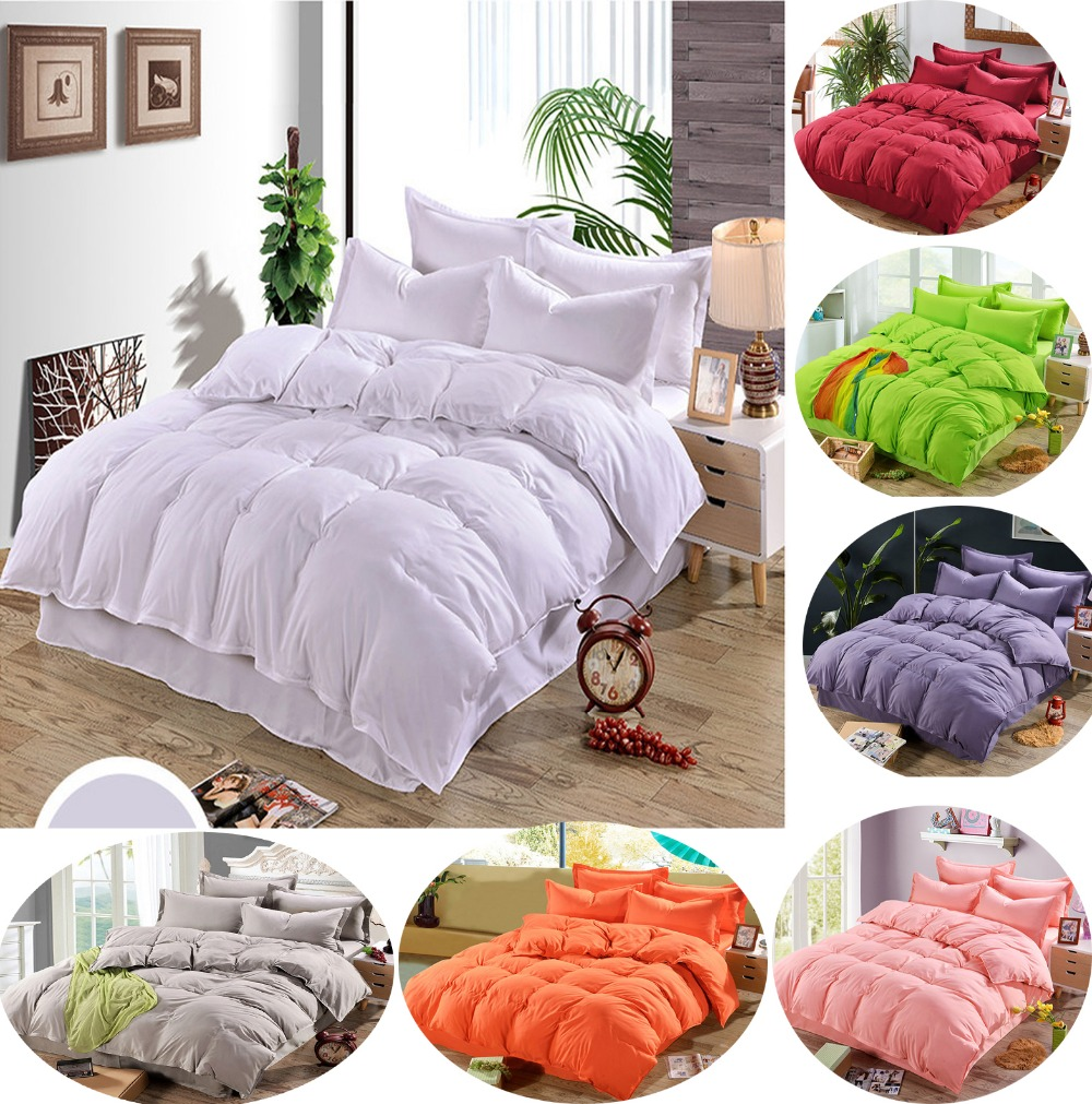 Brown and orange bedding - White Blue Gray Brown Red Orange Solid Color 3 4pcs Bedding Set Flat Sheet Quilt Cover Pillowcase Set Bedclothes Bed Linings