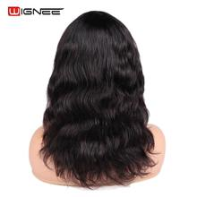 Wignee Long Wavy Human Hair Wigs With Free Bang For Black/White Women Brazilian Remy Human Hair Natural Body Wave Soft Human Wig