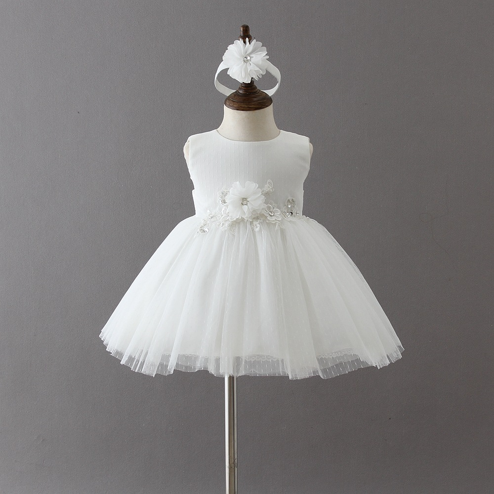 BBWOWLIN White Baby Girl Christening Dress + Headwear for 0 - 2 Years First Communion Dresses for Girls 9004 ...