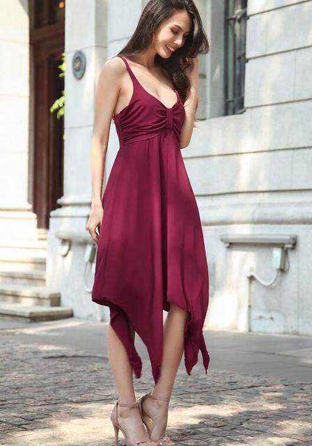Simplee Sexy print cotton summer dress Strap deep v neck high waist beach dresses women 2017 new slit backless Irregular dress