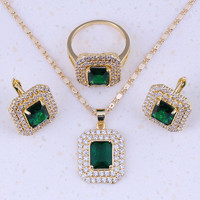Precious Green Imitation Emerald White AAA Zircon 18K Yellow Gold Plated Jewelry Sets Trend For Women
