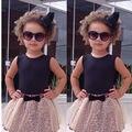 Nueva moda de los bebés ropa 2016 niños niñas chaleco de la tapa y Leopard Mesh vestido falda del tutú 2 unids del verano del vestido niñas establece