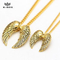 2016 New Titanium Steel Vintage 18K Gold Plated Angel Wing Pendant Charm Necklaces 2 Size Choose