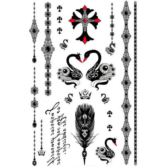 Yeeech Temporary Tattoos Sticker for Women Fake Swan Cross ...