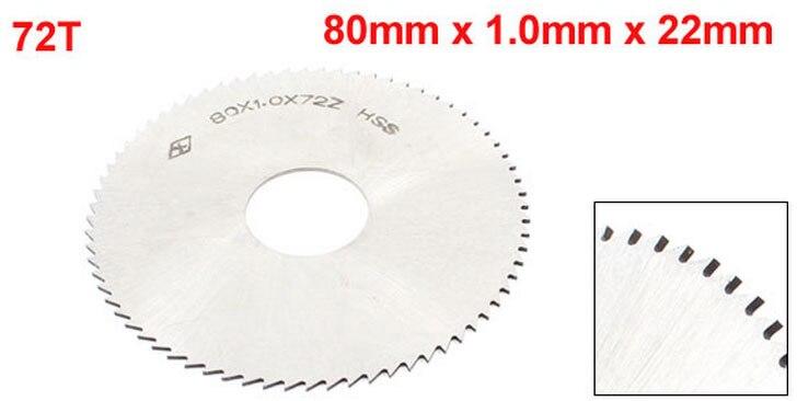 80mm X 1.0mm X 22mm HSS Milling Cutter 72T Slitting Saw Blade Silver Tone 2PCS